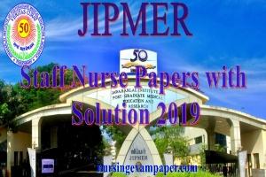 Jipmer staff nurse exam paper 2019